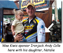 The Wee Kiwis sponsor Ironjack Andy Colle here with his daughter Natalie